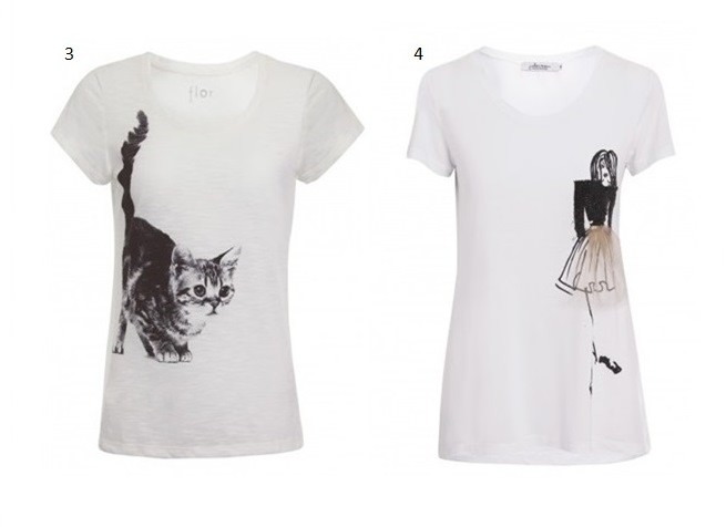 3- FLOR- CAMISETA GATO - SHOP2GETHER       4- J.CHERMANN - T-SHIRT MENINA SAIA -SHOP2GETHER