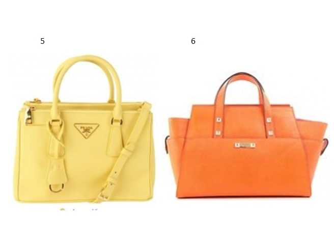 5 - PRADA TOTE HANDBAG YELLOW. R$ 3095,00 6-DSQUARED2 TOTE BAG. R$3.280,00