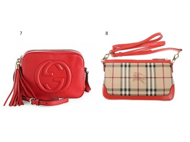 7- GUCCI SOHO LEATHER DISCO BAG. R$3.208,22 8-BURBERRY HANDBAG. R$1.052,00