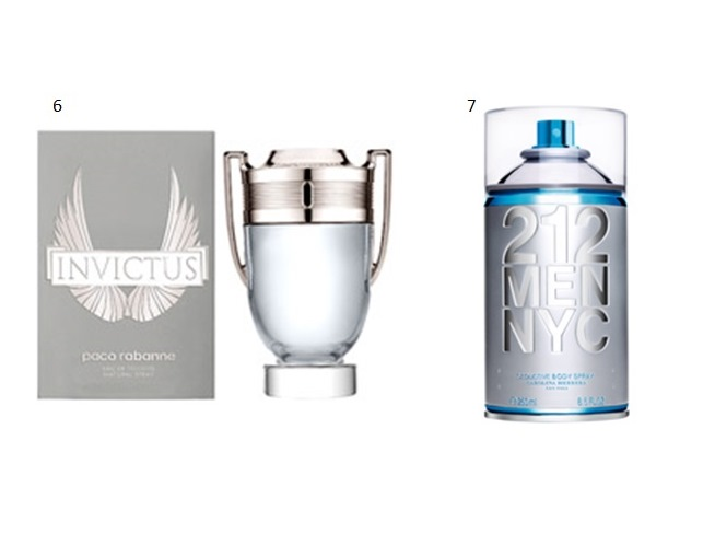 6- INVICTUS MASCULINO - PACO RABANNE 7- 212 SEDUCTIVE BODY SPRAY - CAROLINA HERRERA