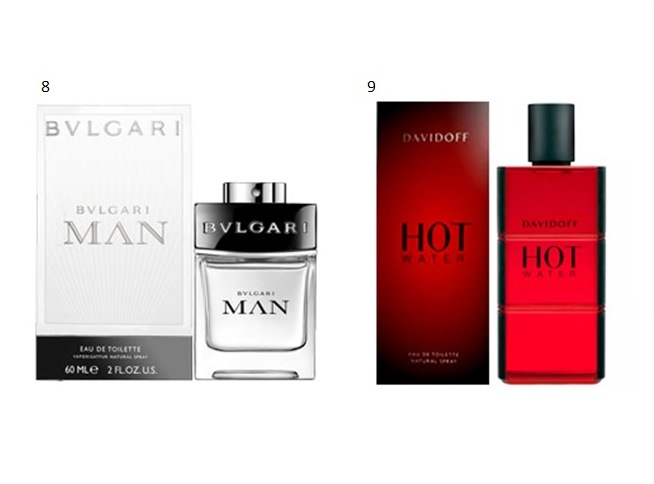 8- MAN - BVLGARI  9- HOT WATER MASCULINO - DAVIDOFF
