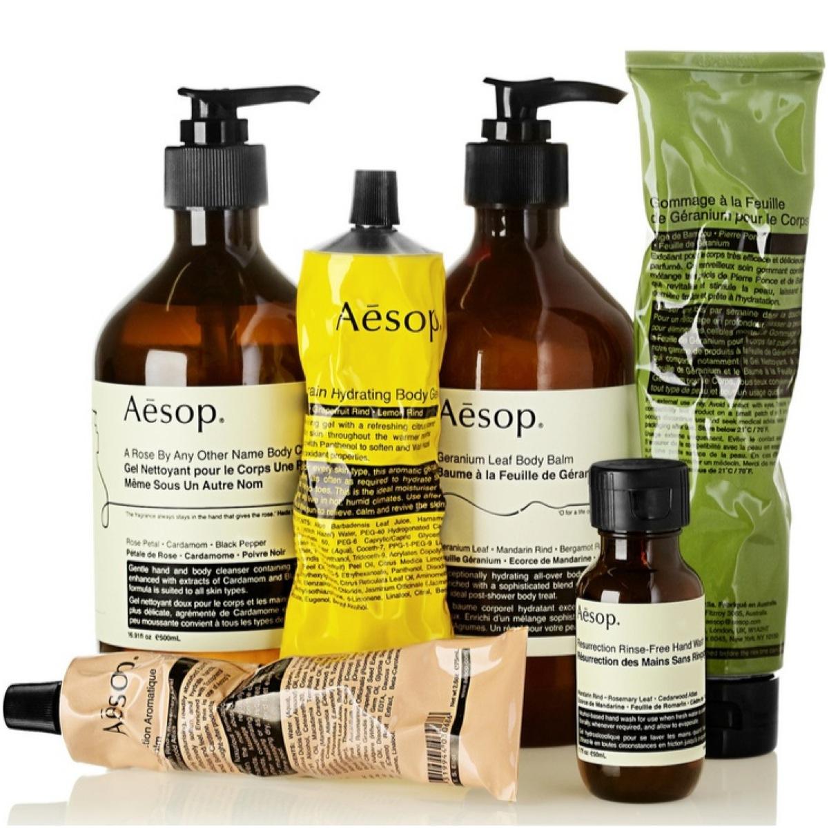 Produtos da marca Aesop imagem: divulgação