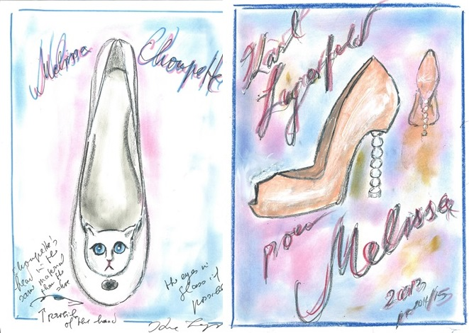 croquis de Karl Lagerfeld para Melissa  Imagem: reprodução