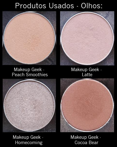 Tutorial Makeup Geek -Produtos Usados