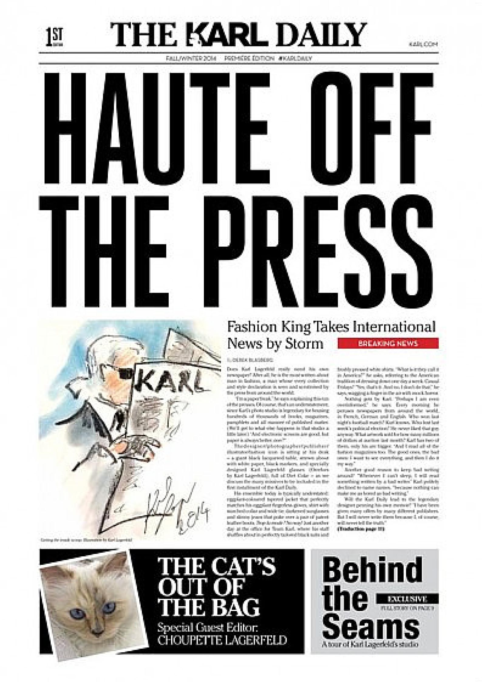 THE KARL DAILY - O JORNAL DE KARL LAGERFELD imagem: divulgação