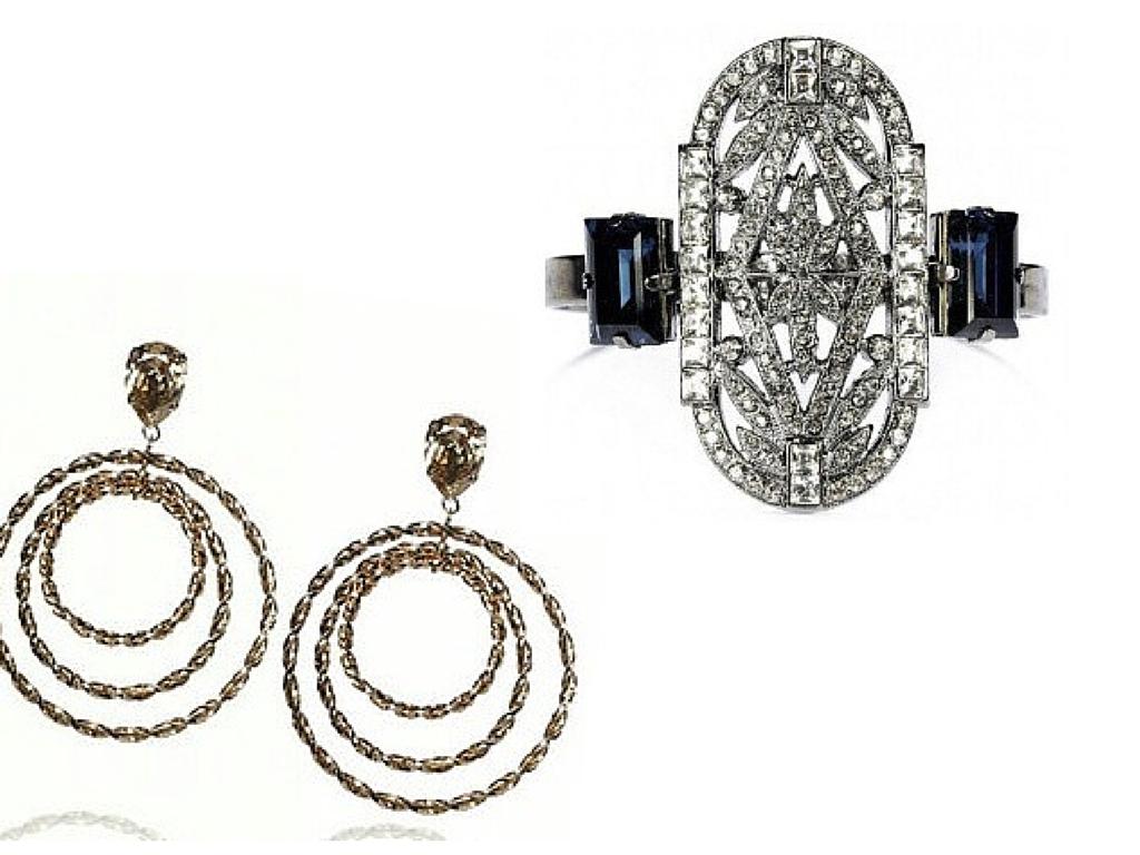 Argola em banho de ouro - $250,00 Bracellet luxo, com cristal e pedras - $250,00