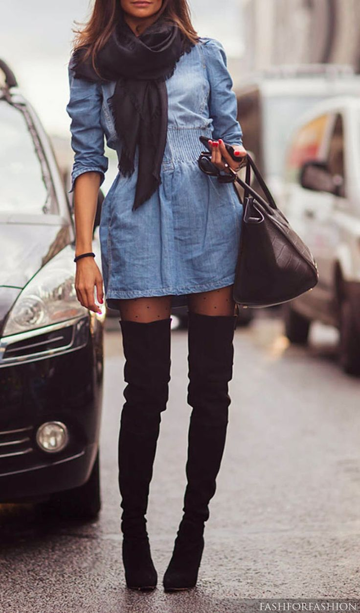 Botas Over The Knee - street style Inverno 2015 imagem: via pinterest