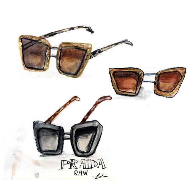 Prada Raw Avenue - nova campanha dos óculos de sol de madeira  imagem: divulgação / Prada