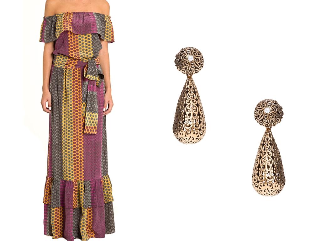 Vestido e brincos da coleção Power Twist - compre aqui