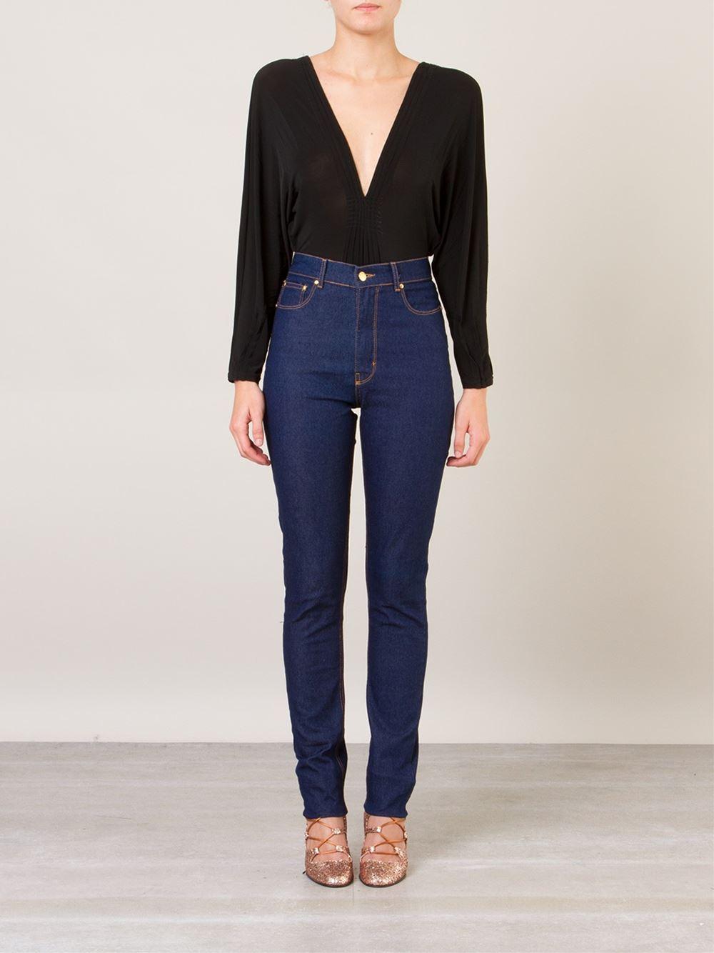 Skinny cintura alta Amapô - compre aqui imagem: Farfetch