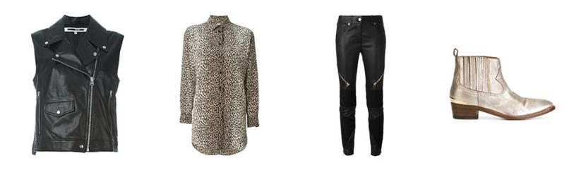 1-Jaqueta de couro sem mangas - MCQ Alexander McQueen 2-Camisa seda animal print - Saint Laurent 3-Calça Skinny Couro - Givenchy 4-Bota de couro - Golden Goose Deluxe Brand