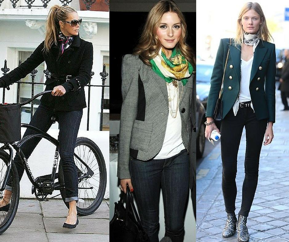 Lenço com blazer é a combinação super clássica que pode ser atualizada com um jeans rasgado. imagem: via pinterest