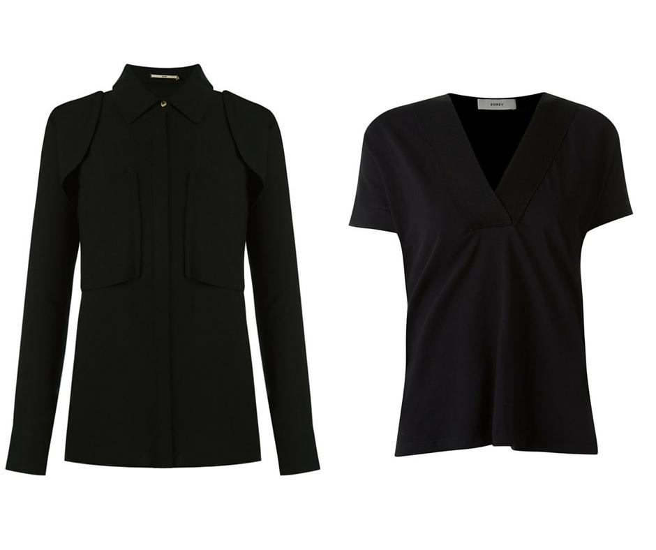Camisa preta e T-shirt decote V imagem: Via Farfetch