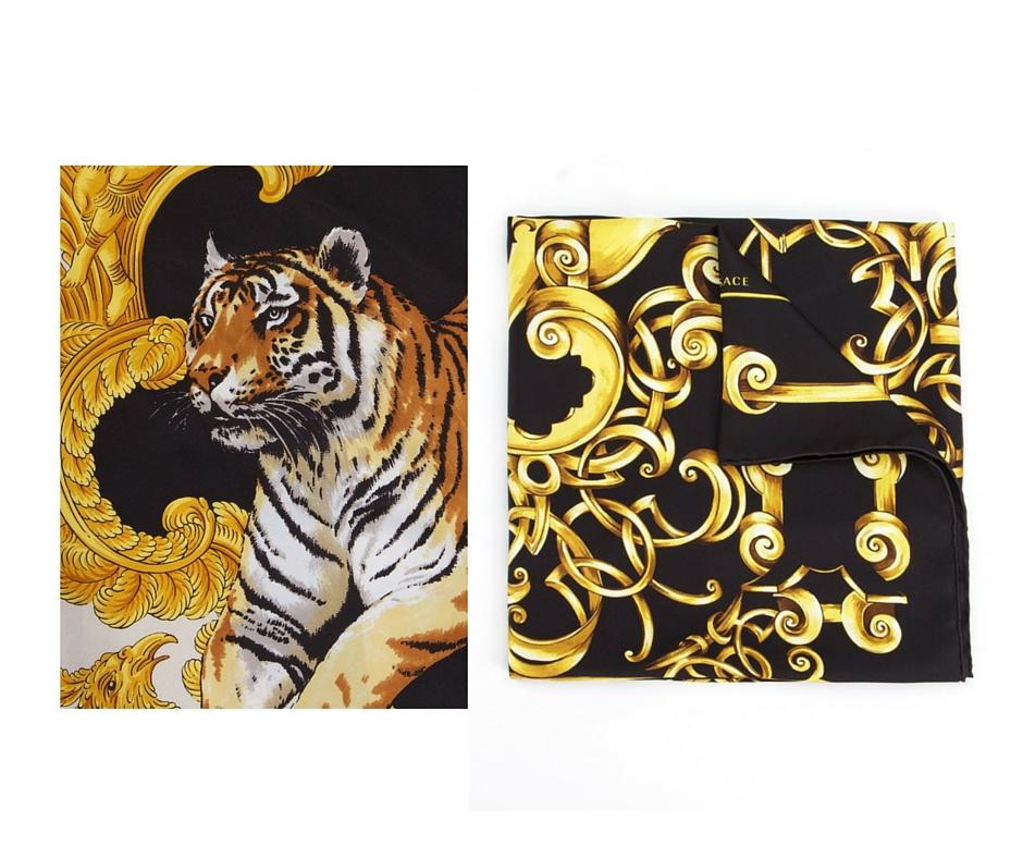 Lenços Seda Versace - Aqui e Aqui imagem: via Farfetch