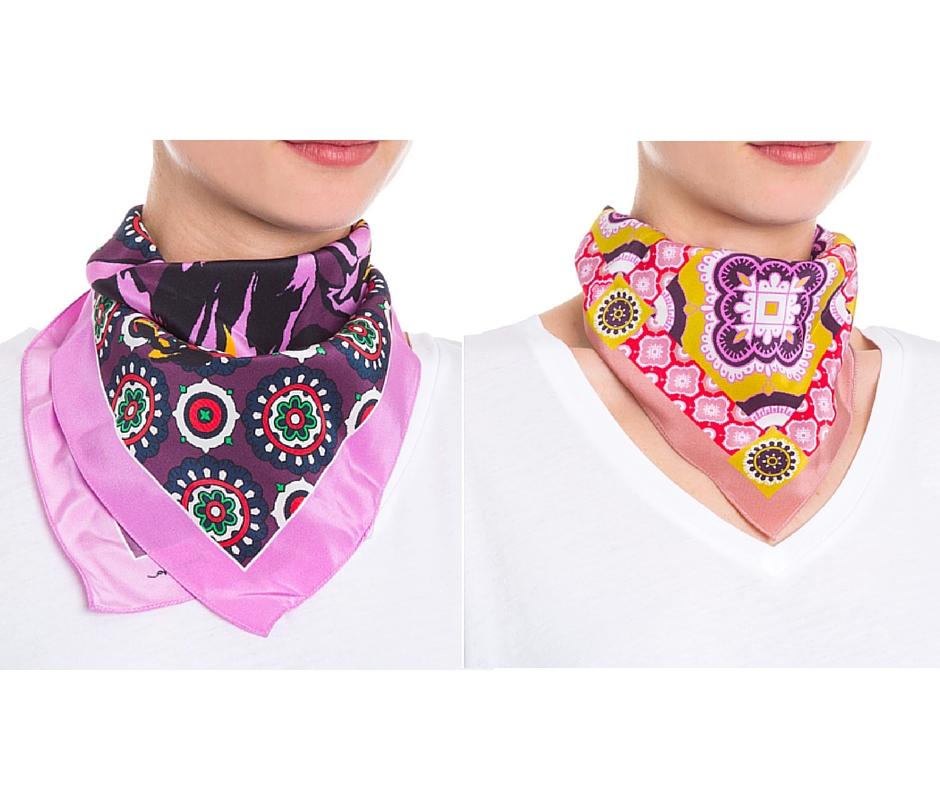 Lenços coloridos - Aqui e Aqui Imagem: via shop2gether