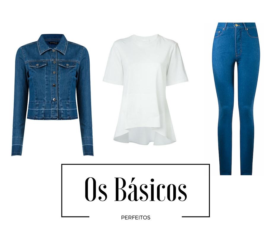 Jaqueta jeans - Aqui / T-shirt branca - Aqui / Calça Skinny cintura alta - Aqui